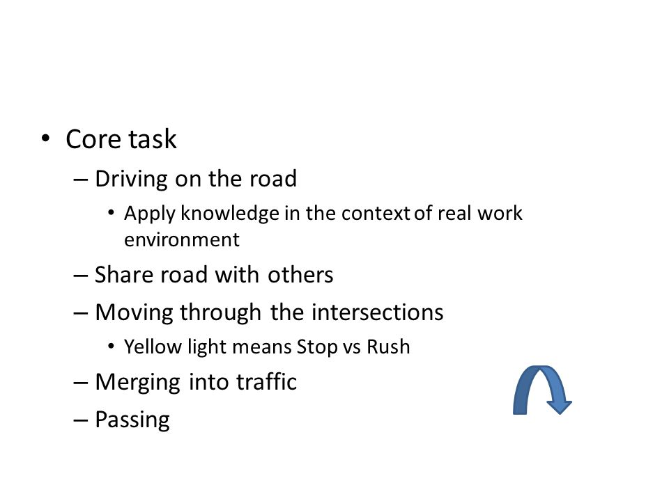Core task Driving on the road Share road with others