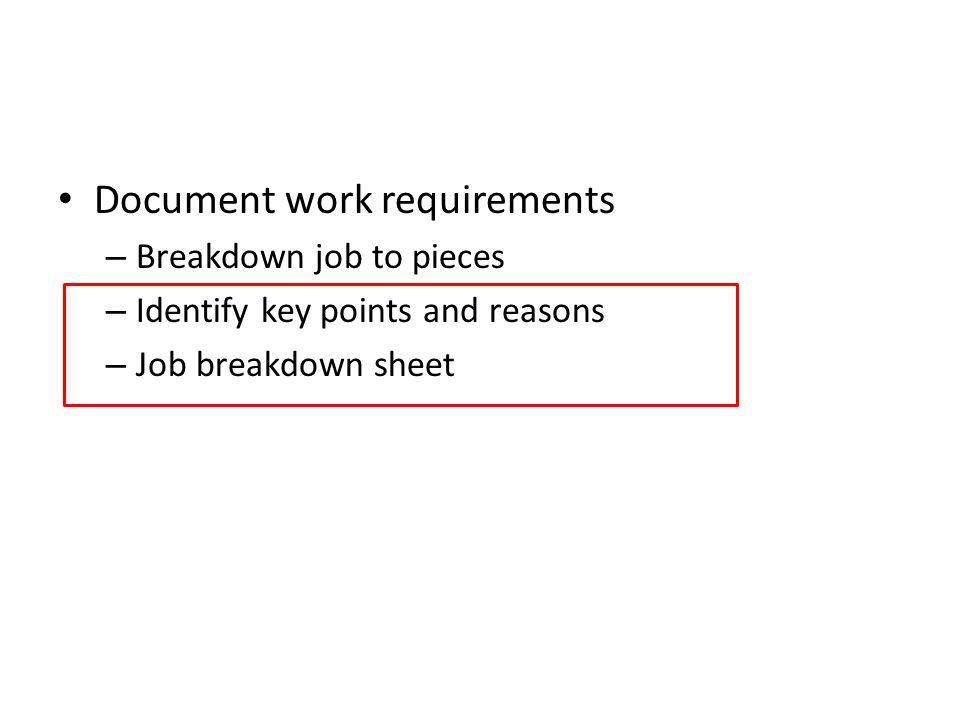 Document work requirements
