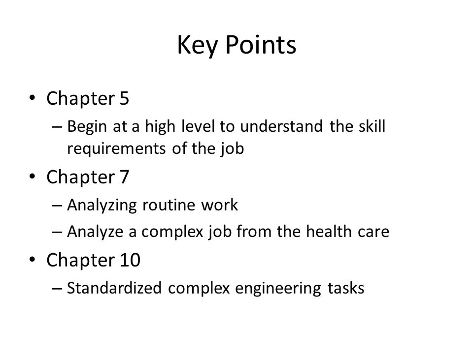 Key Points Chapter 5 Chapter 7 Chapter 10