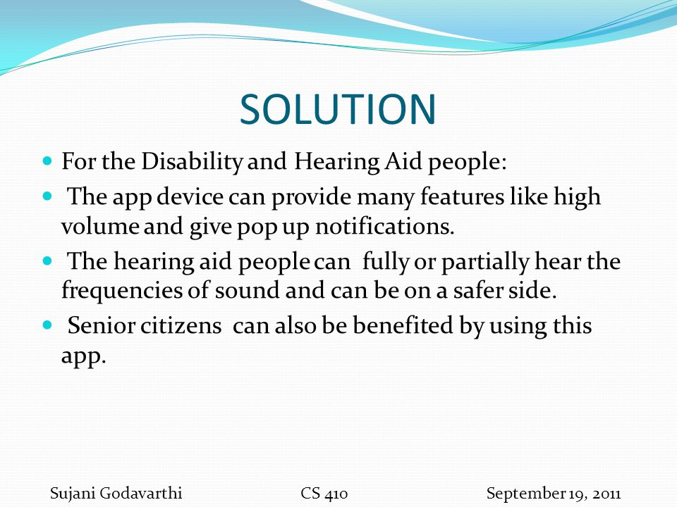 SOLUTION For the Disability and Hearing Aid people: