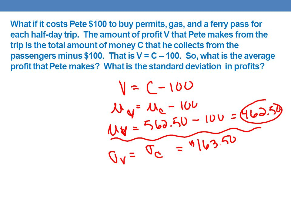 What if it costs Pete $100 to buy permits, gas, and a ferry pass for each half-day trip.