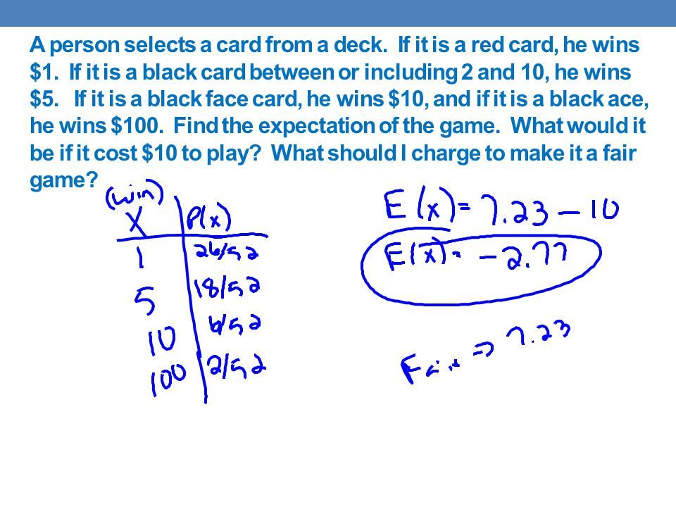 A person selects a card from a deck. If it is a red card, he wins $1