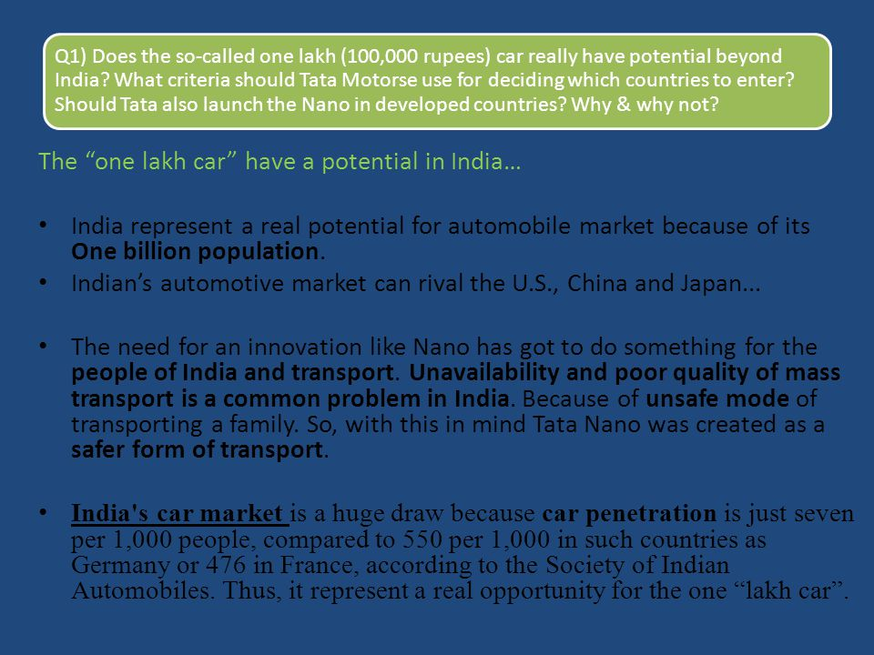 The one lakh car have a potential in India…