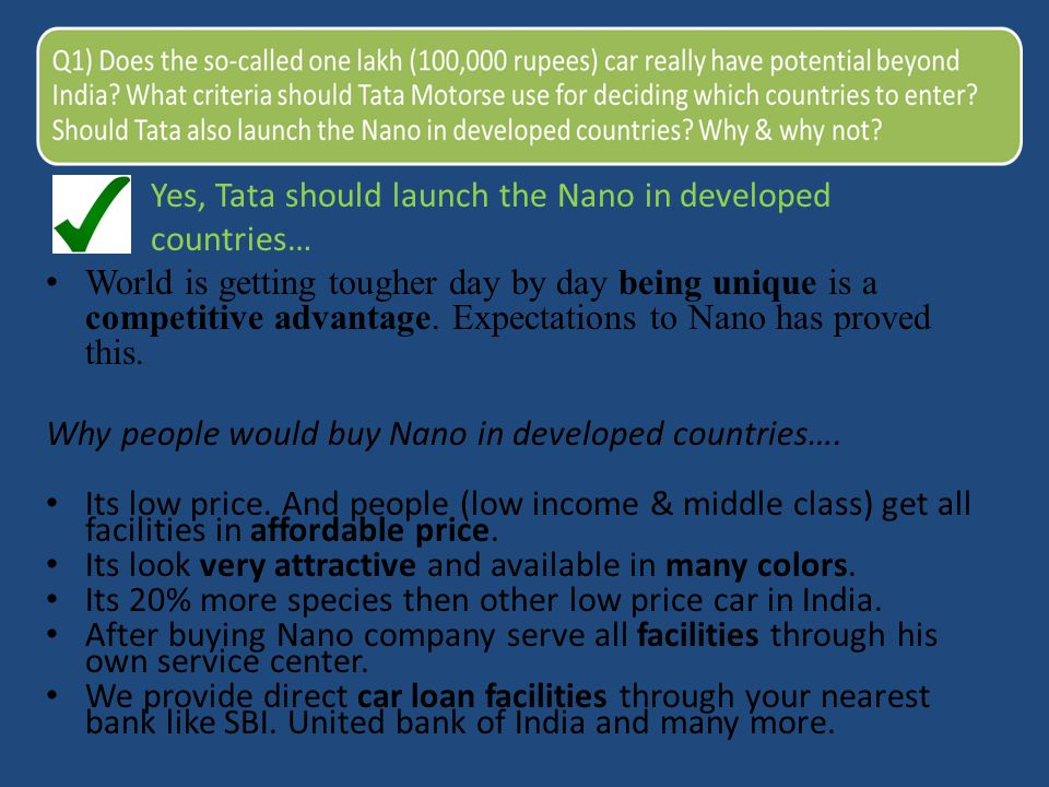 Yes, Tata should launch the Nano in developed