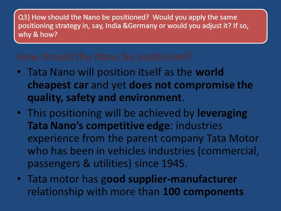 How should the Nano be positioned