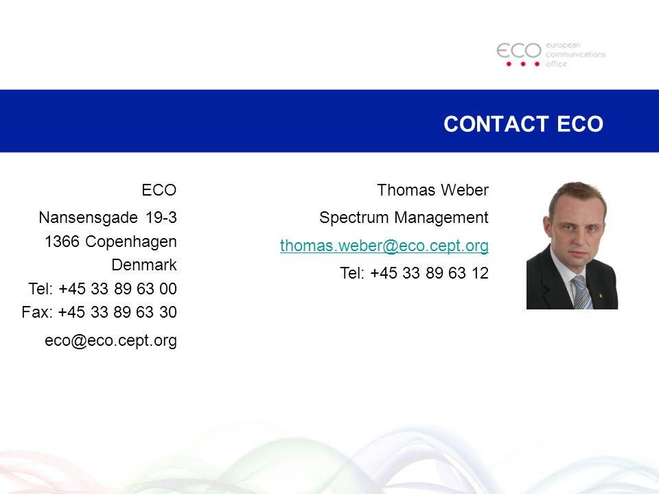 CONTACT ECO ECO. Nansensgade 19-3 1366 Copenhagen Denmark Tel: +45 33 89 63 00 Fax: +45 33 89 63 30.