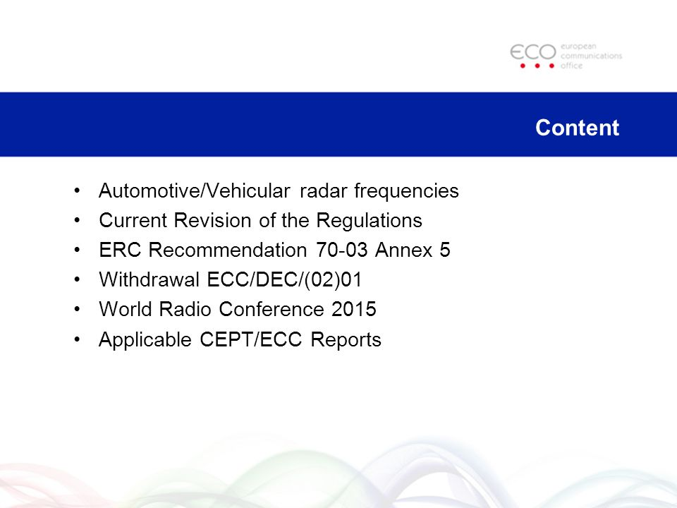 Content Automotive/Vehicular radar frequencies