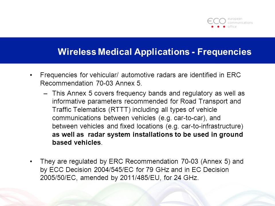 Wireless Medical Applications - Frequencies