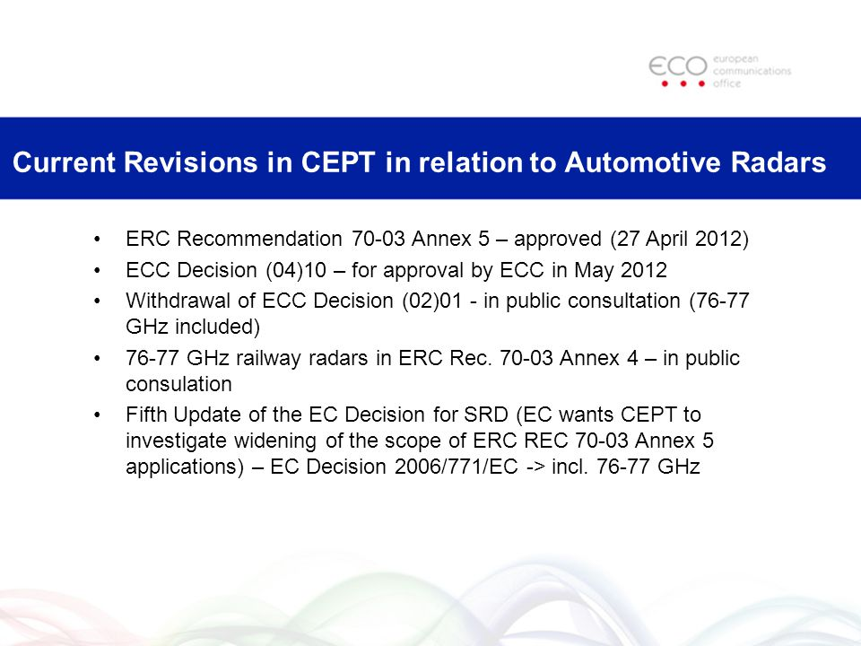 Current Revisions in CEPT in relation to Automotive Radars