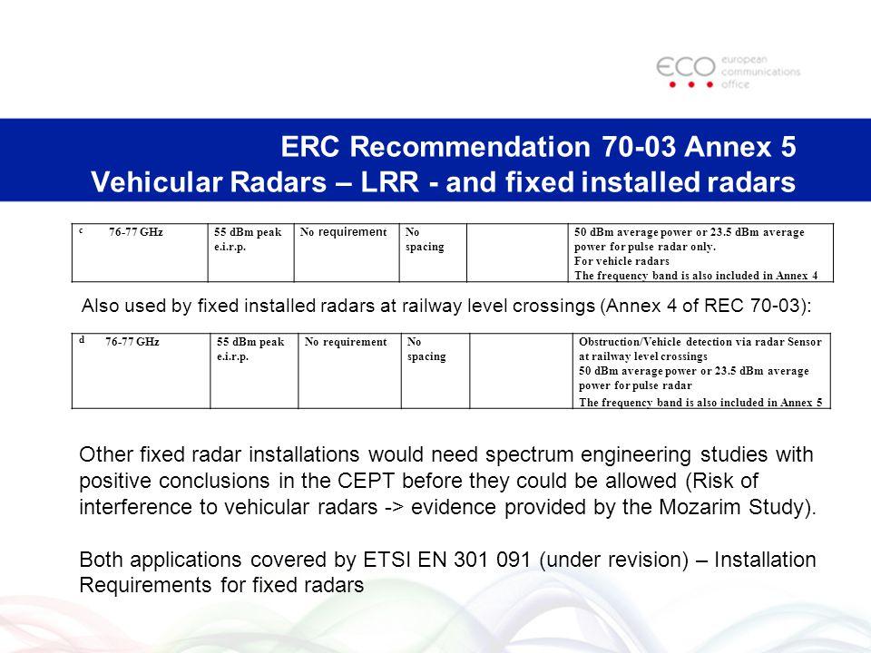 ERC Recommendation 70-03 Annex 5 Vehicular Radars – LRR - and fixed installed radars