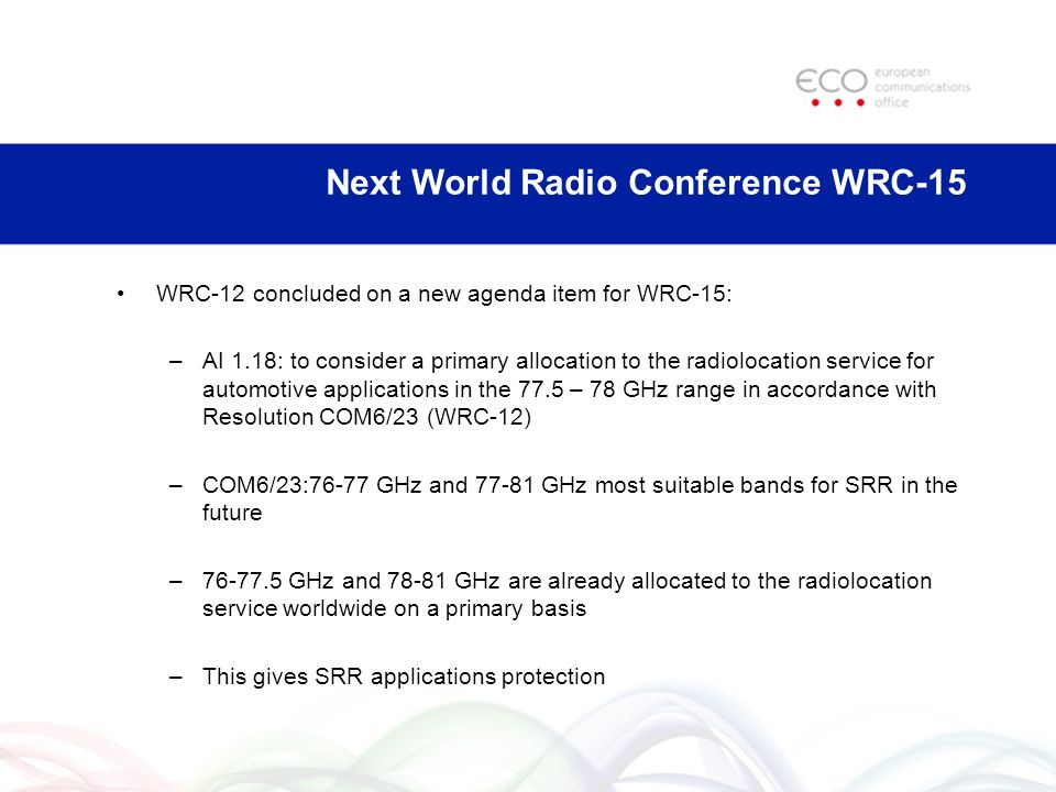 Next World Radio Conference WRC-15