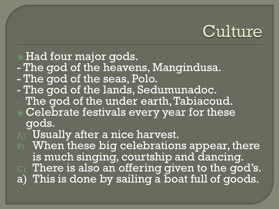 Culture Had four major gods. - The god of the heavens, Mangindusa.