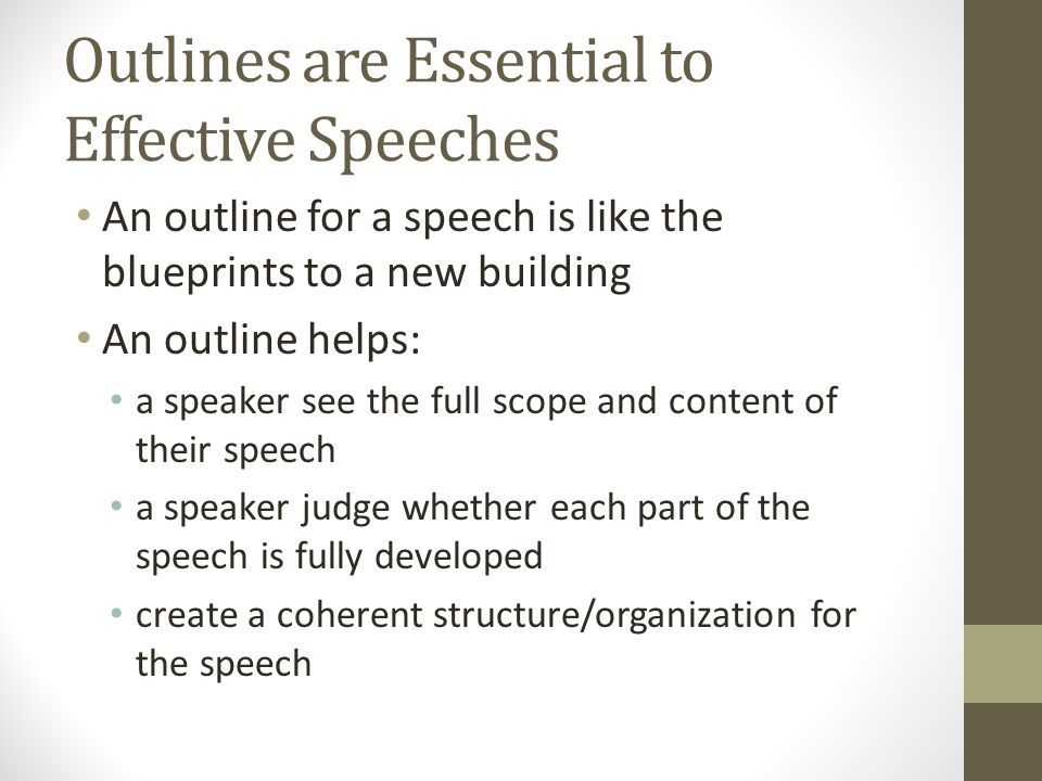 Outlines are Essential to Effective Speeches