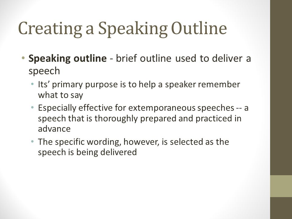 Creating a Speaking Outline