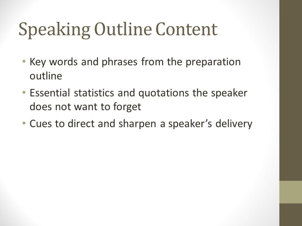 Speaking Outline Content