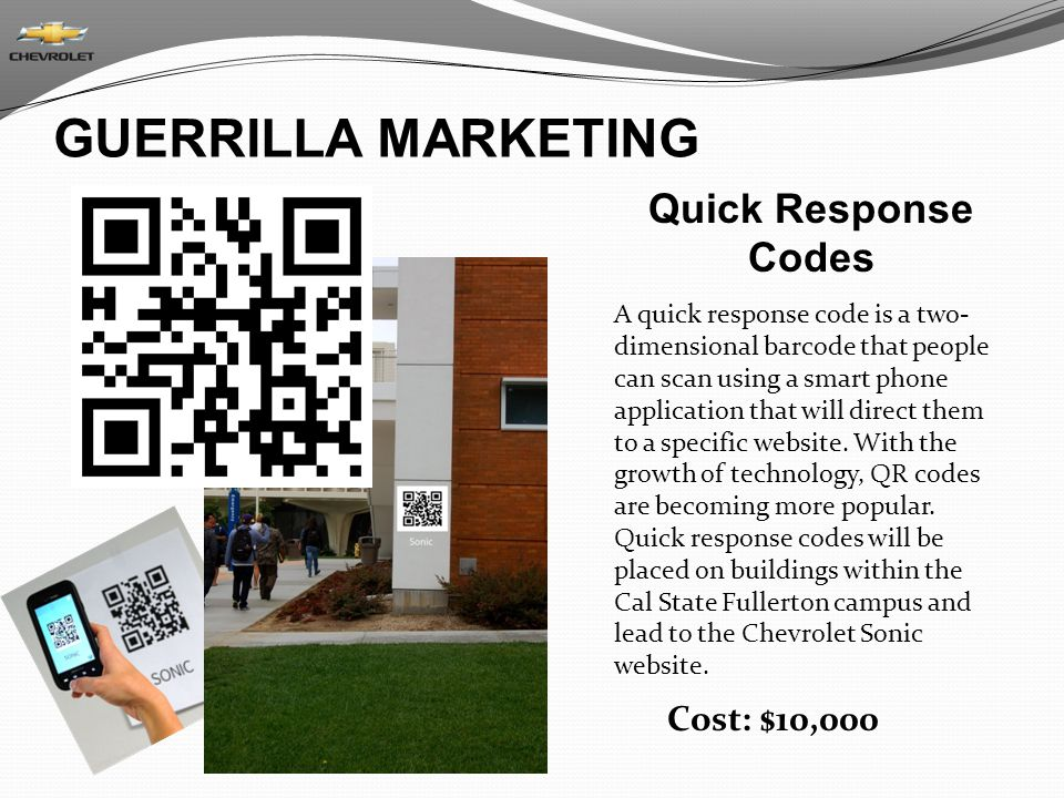 GUERRILLA MARKETING Quick Response Codes Cost: $10,000