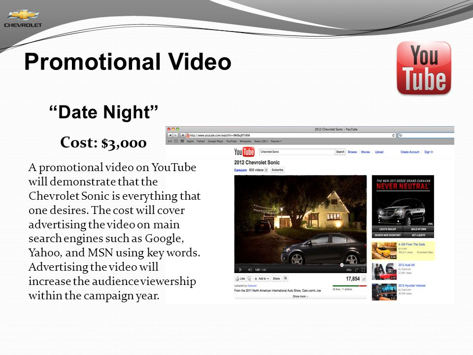 Promotional Video Date Night Cost: $3,000