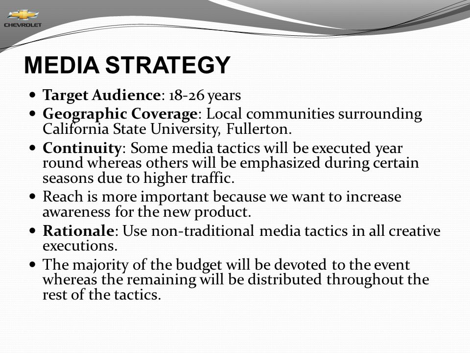 MEDIA STRATEGY Target Audience: 18-26 years