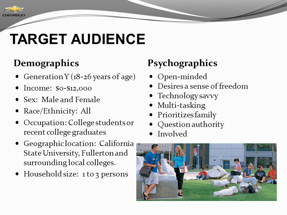 TARGET AUDIENCE Demographics Psychographics
