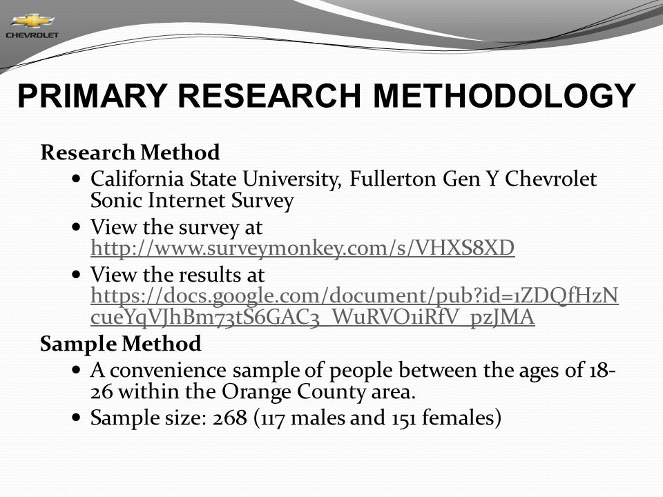 PRIMARY RESEARCH METHODOLOGY