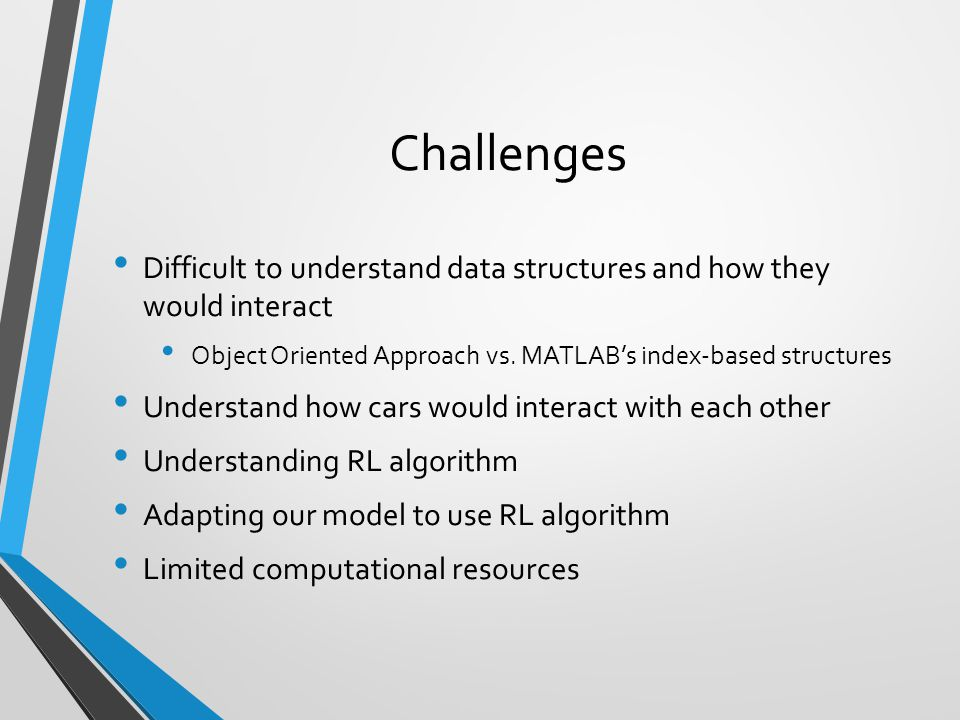 Challenges Difficult to understand data structures and how they would interact. Object Oriented Approach vs. MATLAB's index-based structures.