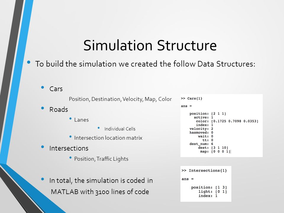 Simulation Structure To build the simulation we created the follow Data Structures: Cars. Position, Destination, Velocity, Map, Color.