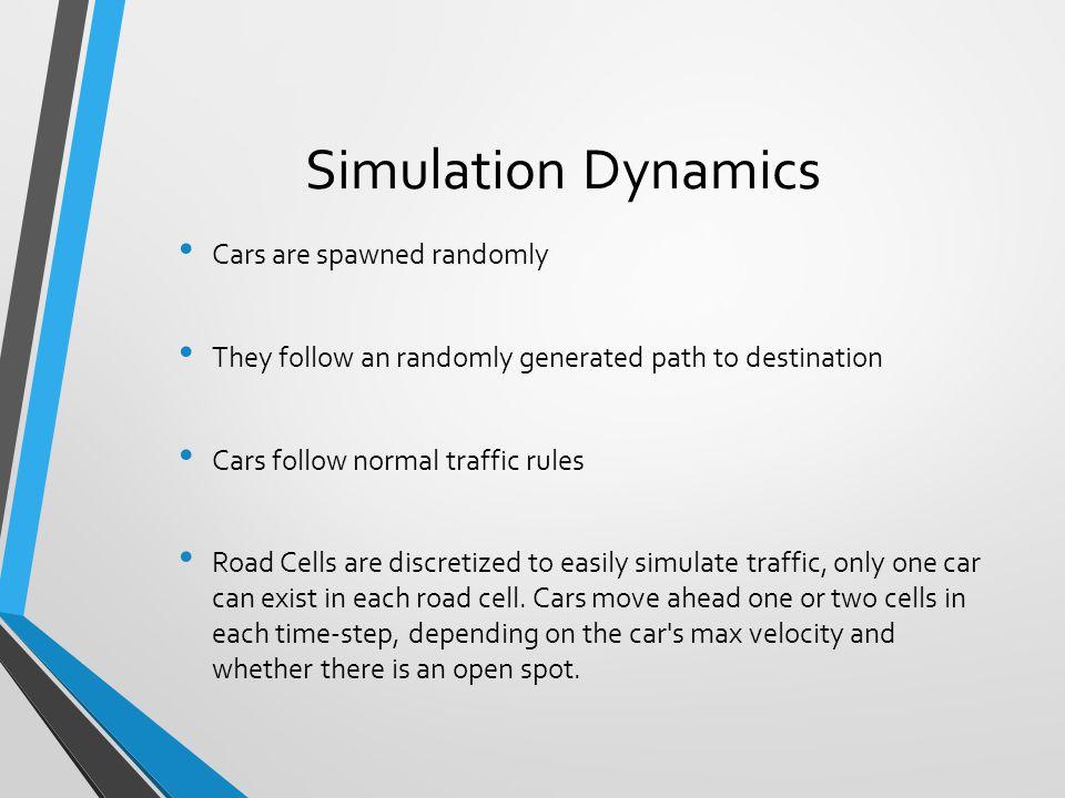 Simulation Dynamics Cars are spawned randomly