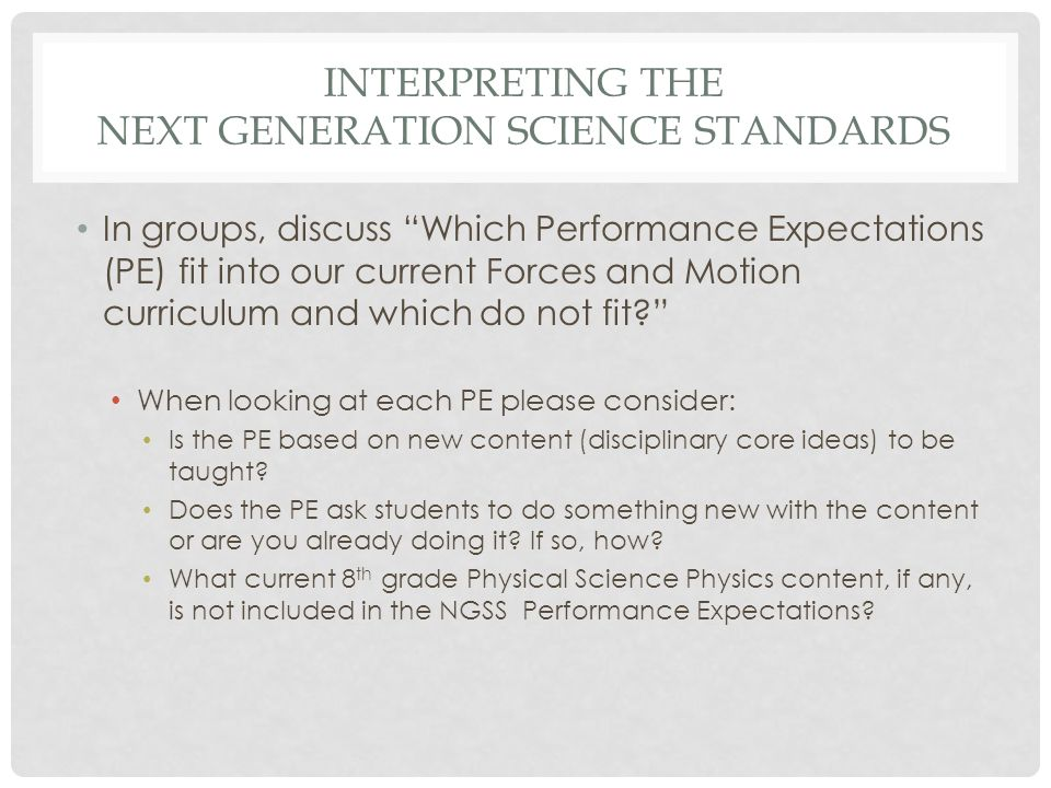 Interpreting the Next Generation Science Standards