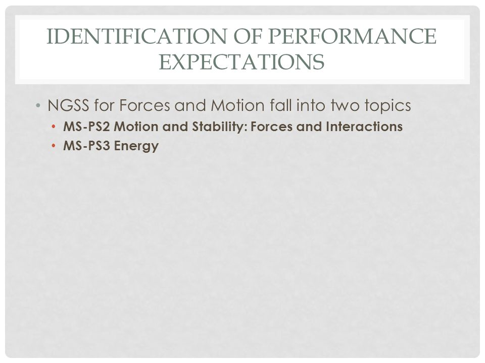 Identification of Performance Expectations