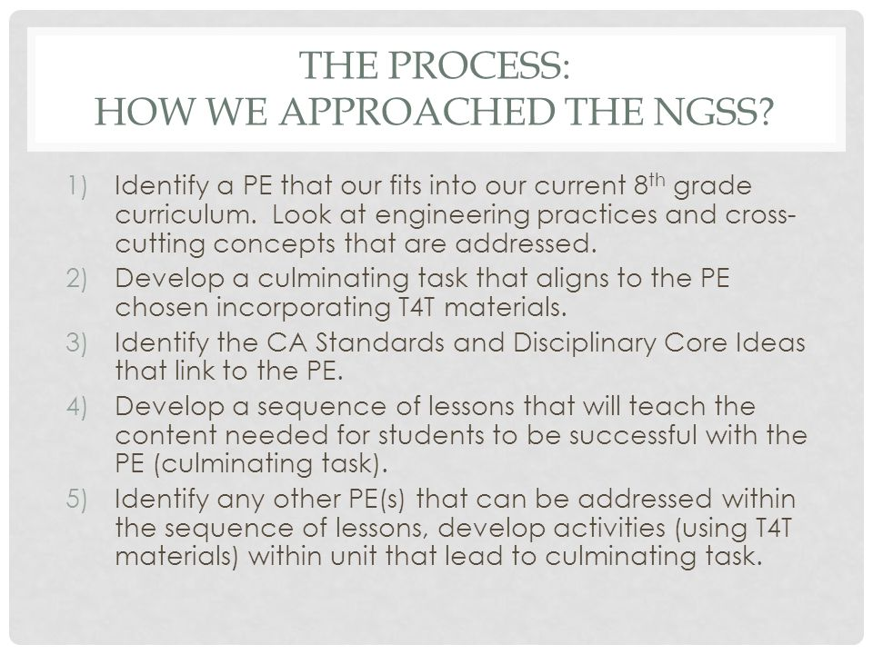 The Process: How we approached the NGSS