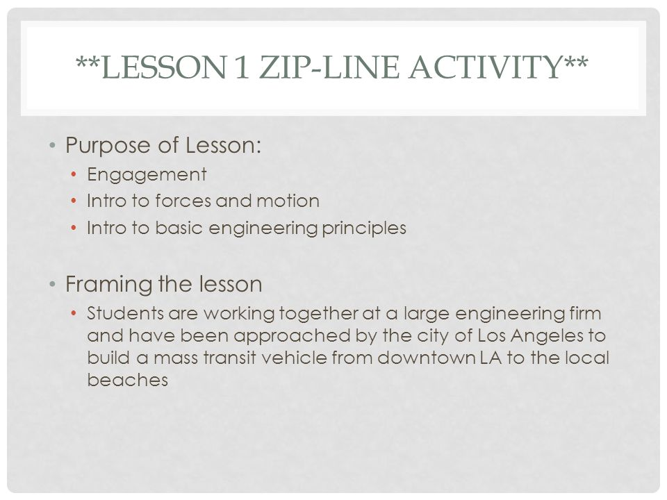**Lesson 1 Zip-line Activity**