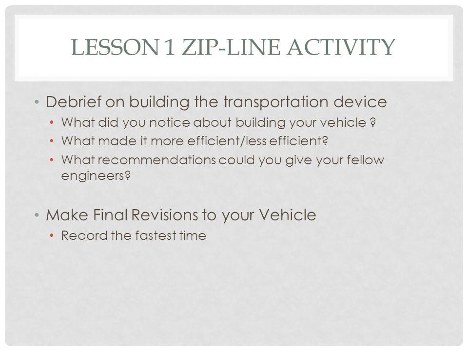 Lesson 1 Zip-line Activity