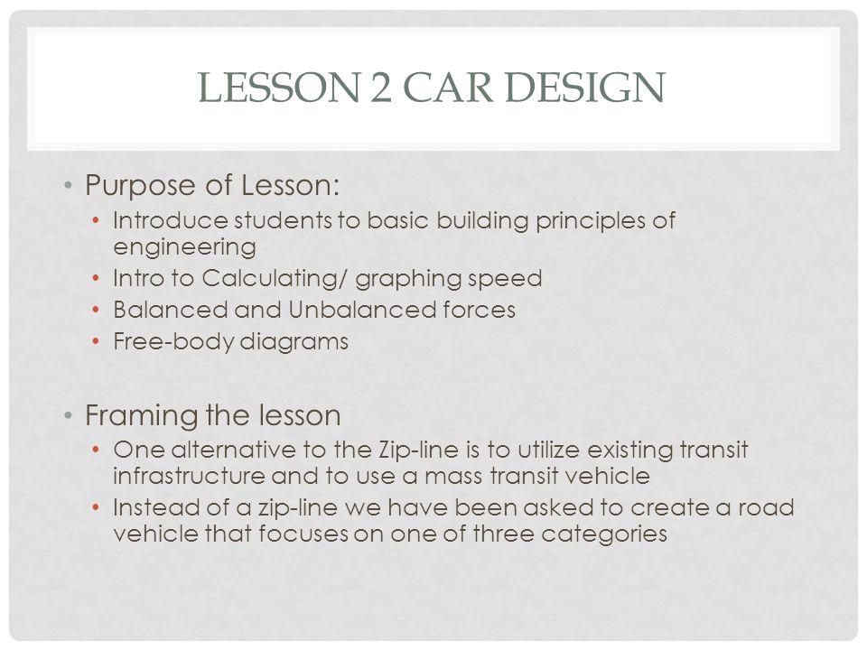 Lesson 2 Car Design Purpose of Lesson: Framing the lesson