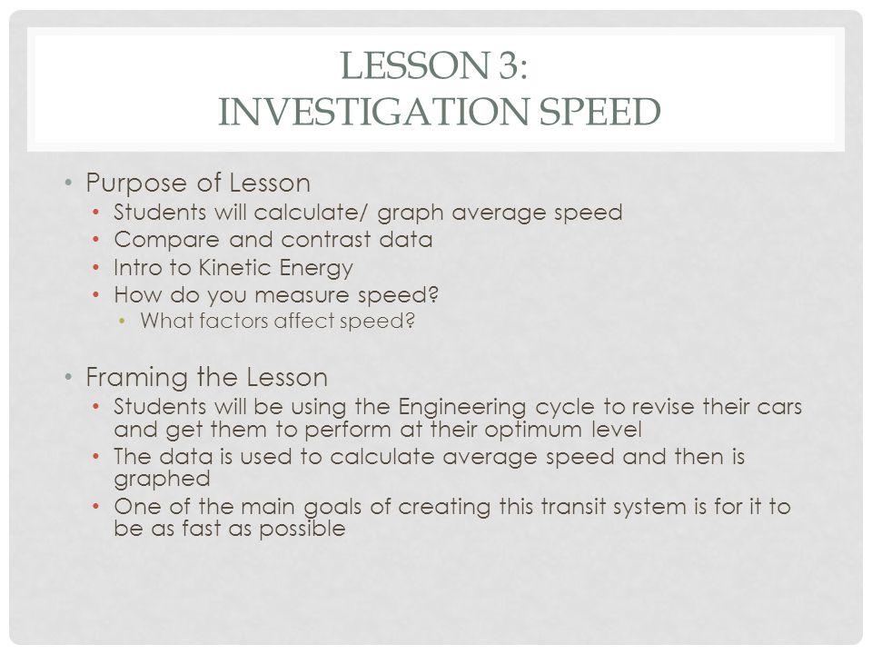 Lesson 3: Investigation Speed