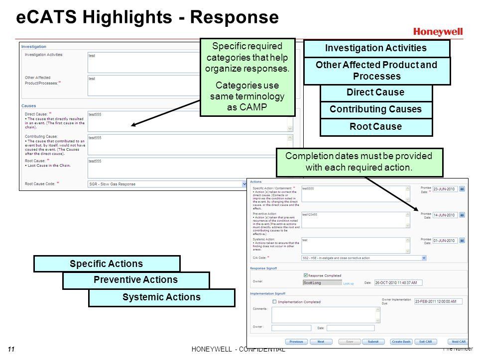 eCATS Highlights - Response