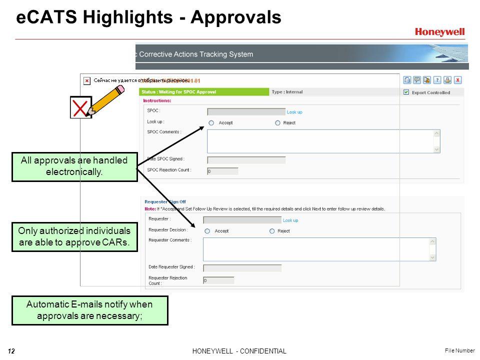eCATS Highlights - Approvals
