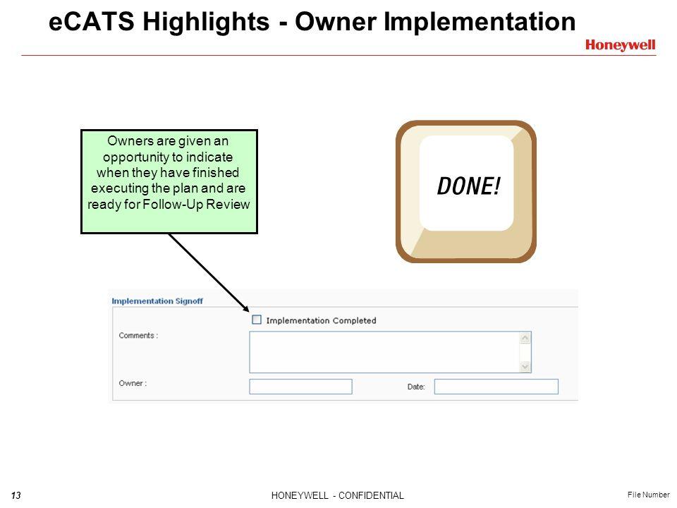 eCATS Highlights - Owner Implementation