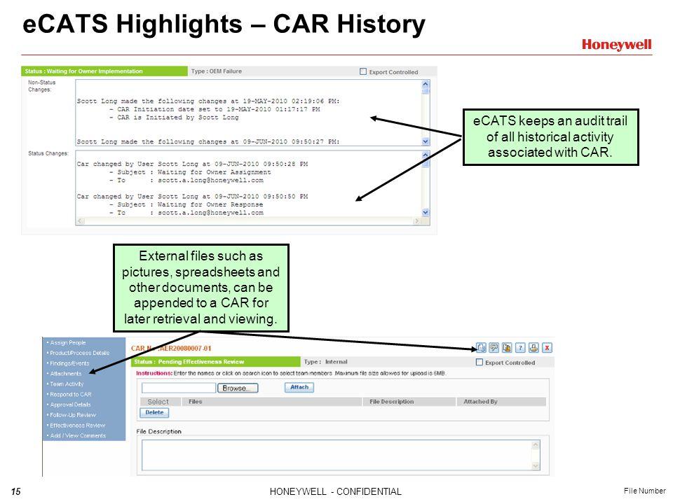 eCATS Highlights – CAR History