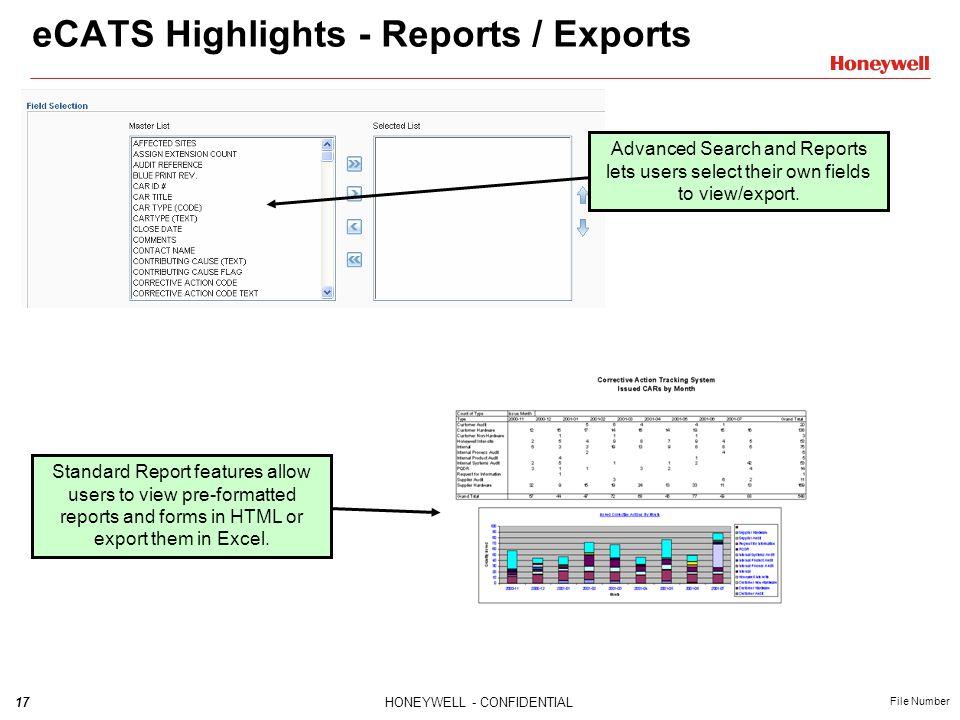 eCATS Highlights - Reports / Exports
