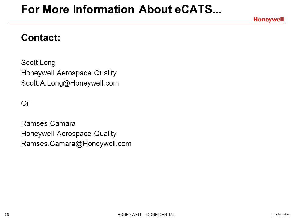 For More Information About eCATS...