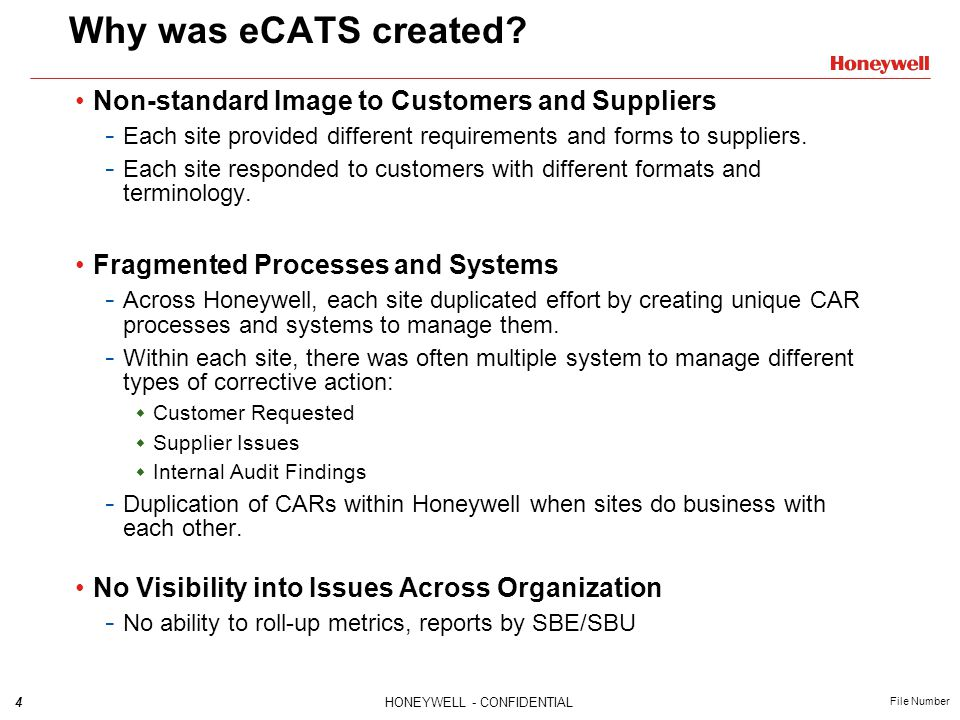 Why was eCATS created Non-standard Image to Customers and Suppliers