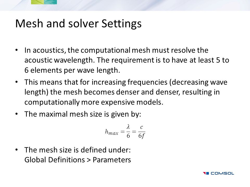 Mesh and solver Settings