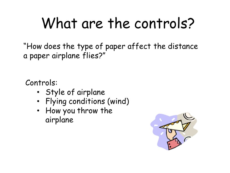 What are the controls How does the type of paper affect the distance a paper airplane flies Controls: