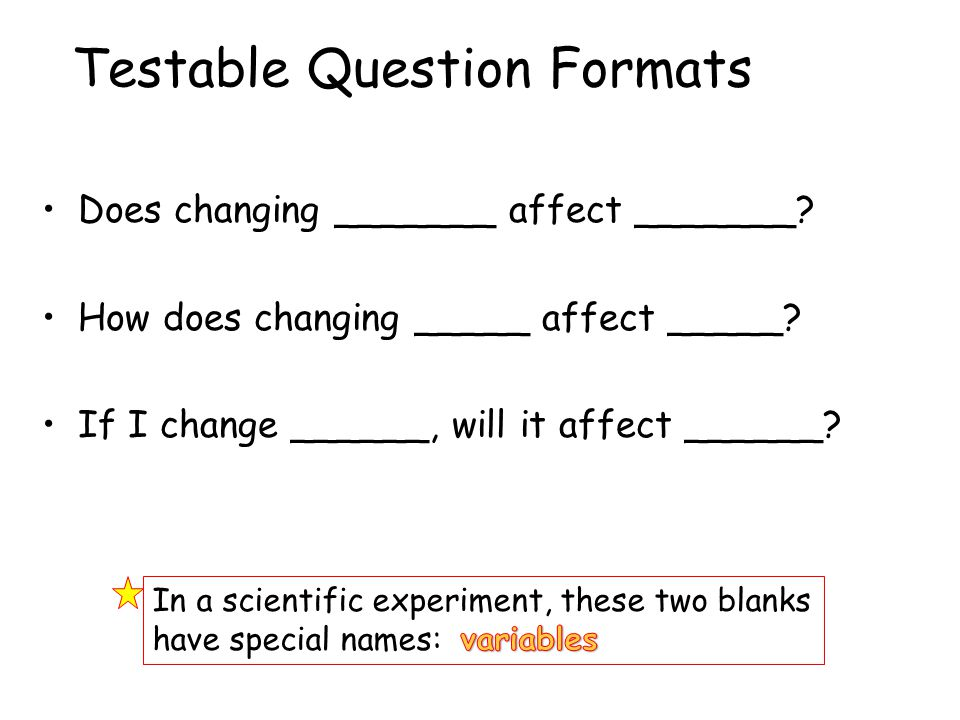 Testable Question Formats