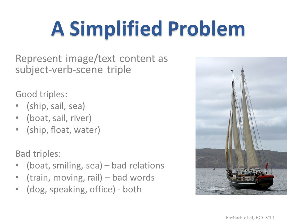 A Simplified Problem Represent image/text content as subject-verb-scene triple. Good triples: (ship, sail, sea)