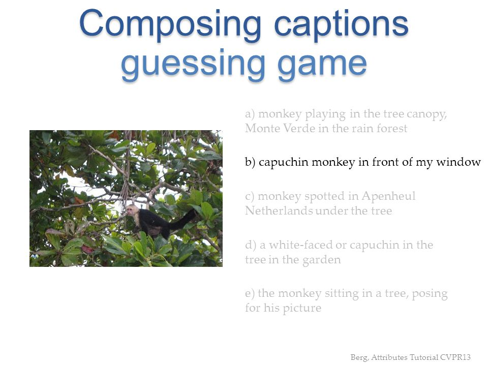 Composing captions guessing game