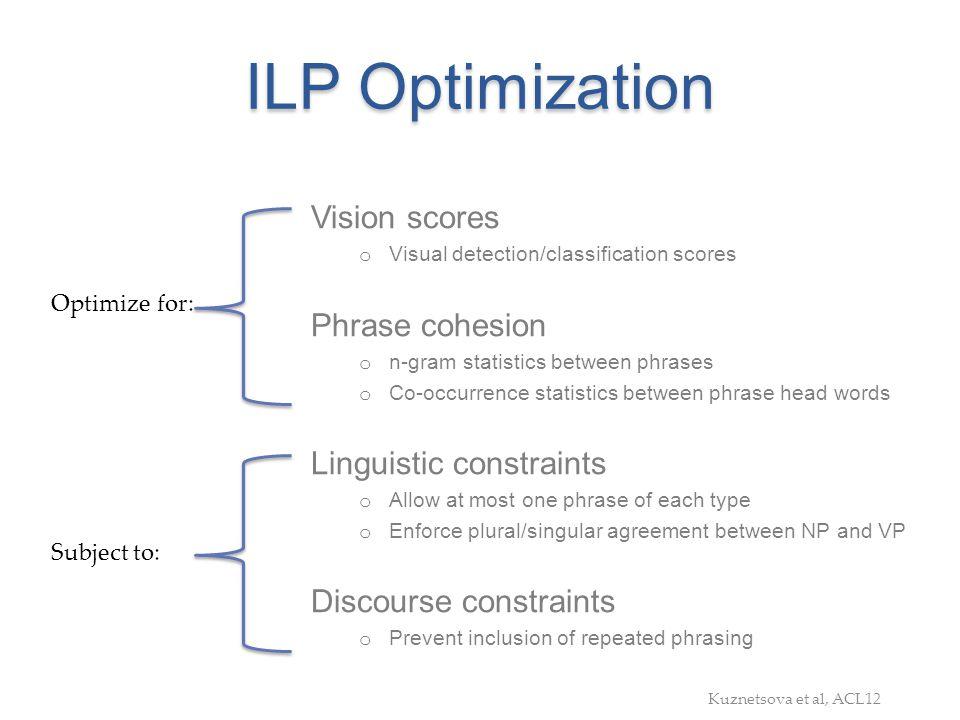 ILP Optimization Vision scores Phrase cohesion Linguistic constraints