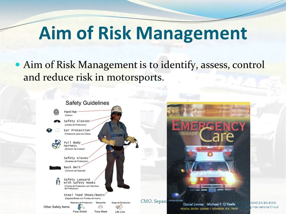 Aim of Risk Management Aim of Risk Management is to identify, assess, control and reduce risk in motorsports.