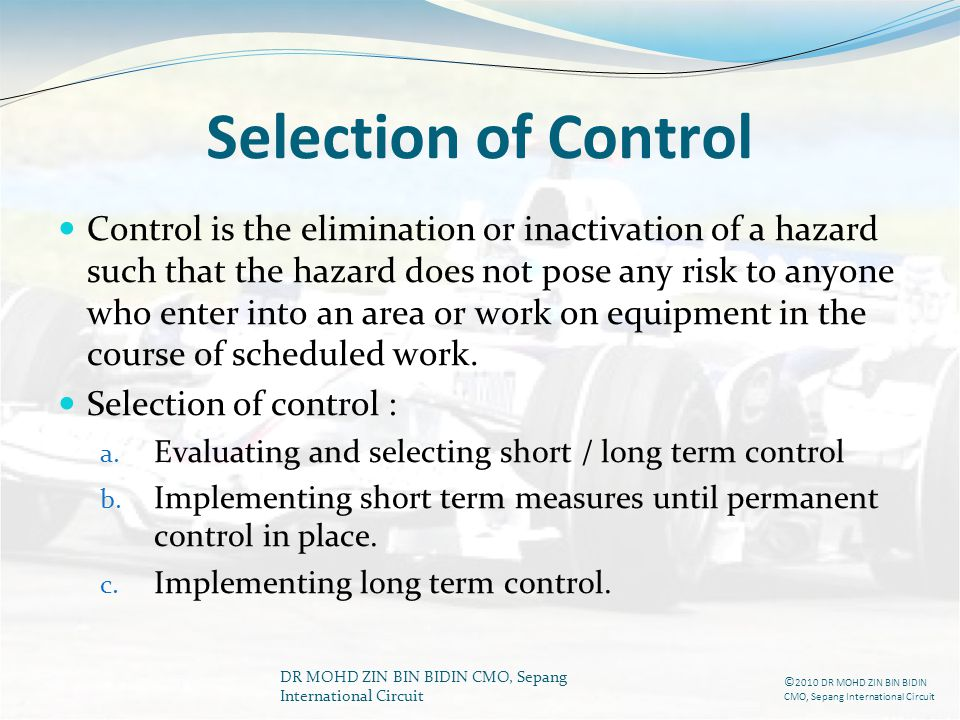 Selection of Control