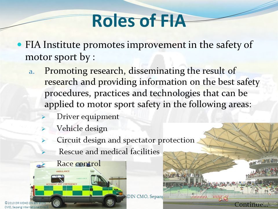 Roles of FIA FIA Institute promotes improvement in the safety of motor sport by :